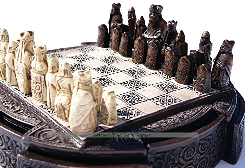 Masters Isle Of Lewis Compact Chess Set - 9 inches, brown cabinet