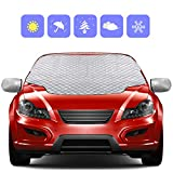 Zenoplige Car Windscreen Frost Cover Snow Magnetic Cover Windshield Sun Protector Waterproof Dust Cover and Ice Protector in All Weather Car Cover with Two Mirror Covers(147×120cm)