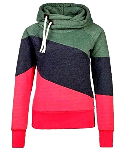 URqueen Women's Color Block Fleece Hooded Sweatshirt Hoodie Top Multicolore