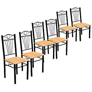 Sedie cucina e sala da pranzo in legno chiaro e metallo for Sedie da cucina in metallo