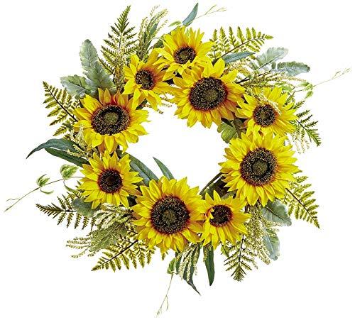 Ten Waterloo 60,9 cm Sonnenblumenkranz mit grünem Blumenkranz auf handgebundenem Zweigsockel, künstliche Blumen -