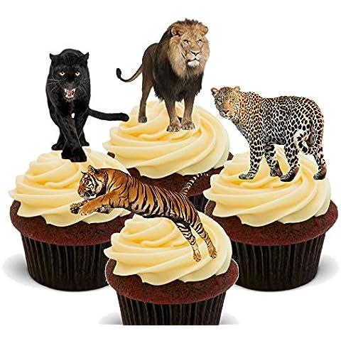 Wild Cats. leone, tigre e Leopardo o Pantera-Decorazioni commestibili per torta-Stand-Topper per Cupcake, motivo: Wafer, confezione da 24
