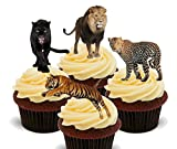 Wild Katzen. Löwe, Tiger, Panther und Leopard–Essbare Kuchen Dekorationen–Stand-Up Wafer Cupcake Topper, 12er-Pack