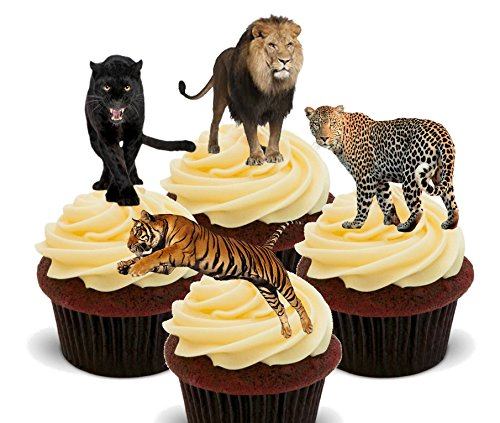 Wild Cats - Lion, Tiger, Panther and Leopard Edible Cupcake Toppers - Stand-up Wafer Cake Decorations by Made4You (Safari Cupcake Toppers)