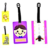 Enwraps Luggage Tag Assorted Pack of 4, Attractive and Different Designs, Vibrant Colours, Personalised Luggage, Trendy and Classy Tags