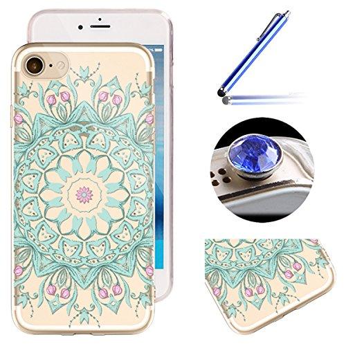 Etsue iPhone SE/5S/5 Housse,Etui Housse Coque de Protection Silicone TPU Gel pour iPhone SE/5S/5,Silicone Coloré Imprimé en Caoutchouc Souple de Gel Housse pour iPhone SE/5S/5 + 1x Bleu stylet + 1x Bl Vert tournesol