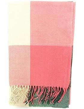 Borla Fleco Cuadrado Patrón Bufanda Larga Tippet Chal para Mujer Dama Invierno,Color rosa con verde