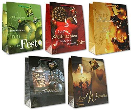 ihnachten Weihnachtskugeln Kerzen Äpfel Plätzchen Large L 32 x 26 x 13 cm Weihnachtstüten Geschenktaschen Papier-Tragetaschen 22-2311 ()