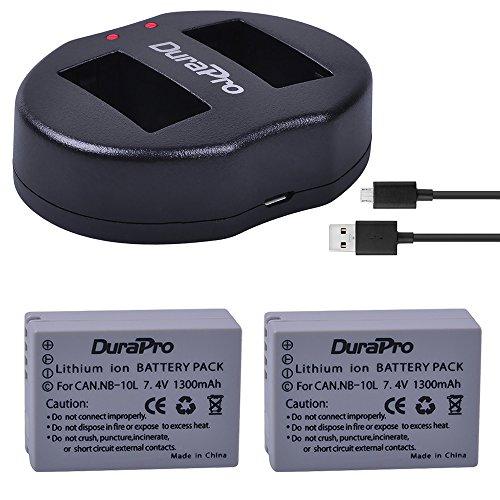 Durapro NB-10L NB10L NB 10L Akku mit flachem USB-Ladegerät für Canon G1X G15 G16 SX40HS SX50HS SX60HS SX40 SX50 SX60 HS Kameras (1300 mAh, 2 Stück)
