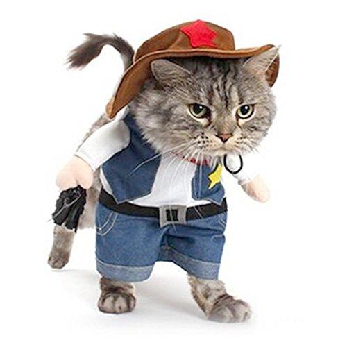 Newin Star Haustier Hund Katze Halloween Kostüme, der Cowboy für Party Weihnachten Special Events Kostüm, West Cowboy Uniform mit Hut, lustige Haustier Cowboy Outfit Kleidung für Hund ()
