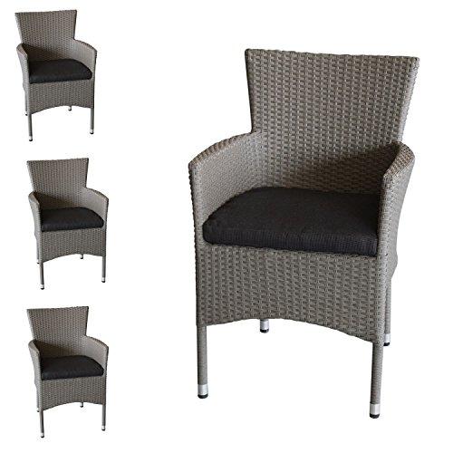 Wohaga 4X Polyrattan Sessel stapelbar Rattansessel Grau-Meliert Inklusive Schwarzen Sitzkissen...