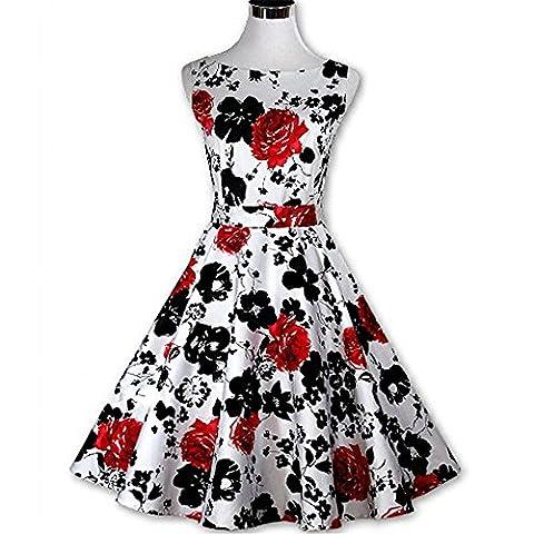 DaBag -2017- Sexy Sleeveless Print Hepburn Style 50s Tight Waist Pleated Skirt Knee-length Retro Large Swing Dress Vintage Rockabilly Dress (M,