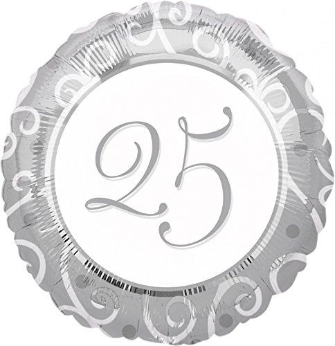 Folienballon Helium Silberne Hochzeit 25 mit Ballongas gefüllt, Silber 25 im Kreis 45cm