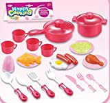 Kids Cooking Chef Kitchen Playset Toys   Cups   Plates   Knife Fork Spoon   Pan   Pot   Plastic Food   Salt Shaker   Tableware Appliances Pretend Play Set