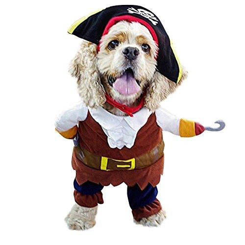 Kostüm Karibik Piraten Mädchen - GLQ Hund Kleidung und Hat , Karibik Pirat Pet Halloween Outfit , Weihnachten Party Kostüm für Fashion Hunde und Katzen-Geeignet für Kleine , Medium, Große Pet Tragen, S, Braun