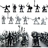 60 pcs/lot 5-7CM Sliver Black Warriors Medieval Soldiers Military Figures Toy Archaic Soldiers Middle Ages Soldiers