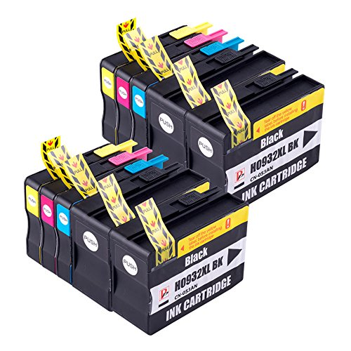 PerfectPrint Compatible Tinta Cartucho Reemplazo Para HP Officejet 6100 6600 6700 7110 7510 7610 7612 932XL 933XL (Negro/Cian/Magenta/Amarillo, 10-Pack)