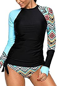 EVALESS Womens Geometric Print Contrast Long Sleeve Tie Side Rash Guard Tankini Swimsuit(S-XXXL)
