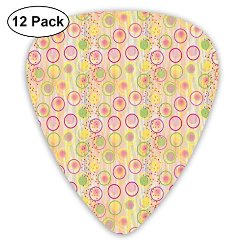 Guitar Picks - Abstract Art Colorful Designs,Circular Disc Shaped Rounds With Pastel Toned Spots Creative Concept,Unique Guitar Gift,For Bass Electric & Acoustic Guitars-12 Pack -