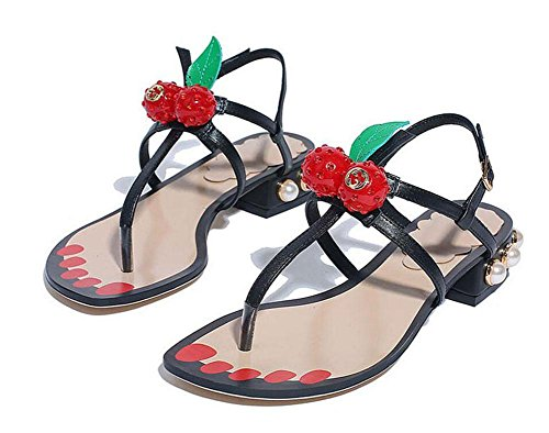 Frauen Sandalen Cherry Schuhe Sommer neue Low Heel Toe Word Sandalen Perle Clip Füße Black