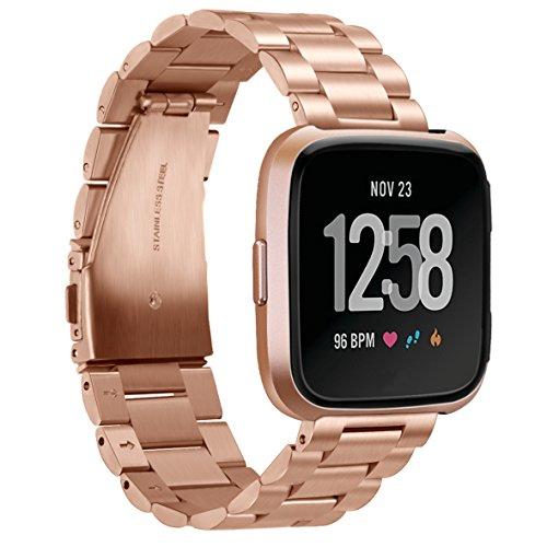TopTen Fitbit Versa Uhrenarmband, verstellbar, Edelstahl, Schmuck, Sport-Armband, Ersatz-Zubehör, Schmuck Armband für Fitbit Versa Gesundheit und Fitness Smartwatch M Rose Gold