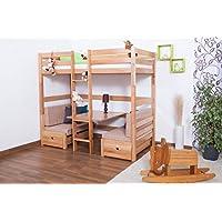 Preisvergleich für Kinderbett/Etagenbett / Funktionsbett Tim (umbaubar zu einem Tisch mit Bänken oder zu 2 Einzelbetten) Buche massiv natur inkl. Rollrost - 90 x 200 cm