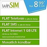 winSIM LTE All 1 GB Allnet Flat [SIM, Micro-SIM und Nano-SIM] monatlich kündbar (FLAT Internet 1 GB LTE mit max. 21,6 MBit/s mit deaktivierbarer Datenautomatik, FLAT Telefonie, FLAT SMS und FLAT EU-Ausland, 8,99 Euro/Monat)