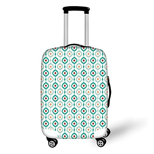 Travel Luggage Cover Suitcase Protector,Ikat Decor,Colorful Mesh Chain Style Ikat Patterns Retro Decorative Ethnic Design Home,Light Green White,for Travel M (Hard-shell Koffer Leopard)