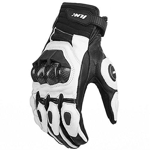 Air Flow Leder Motorrad Handschuhe für Männer und Frauen(L,Weiß)