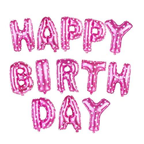 NUOLUX HAPPY BIRTHDAY Luftballons,Mylar Folie buchstaben luftballons,16 Zoll(rosa)