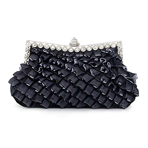 Bag Party Signore Cena Carino Seta Pizzo Fogliame Cosmetic Bag Mobile Musica Party Black