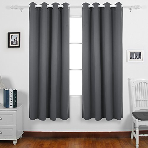 Attractive Deconovo Thermal Insulated Bedroom Blackout Curtains Ring Top Blackout  Curtains For Kids Bedroom With Two Matching Tie Backs 46 X 72 Drop Inch  Light Grey 2 ...