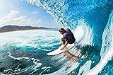 Poster Wellenreiter Wandbild Dekoration Sport Meer Natur Beach Welle Surfen Ozean Surfbrett Surfboard Wassersport | Wandposter Fotoposter Wanddeko Bild Wandgestaltung by GREAT ART (140 x 100 cm)