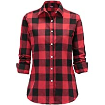 the best attitude e016c 73e2a Amazon.it: camicia donna quadri rossa e nero - Rosso
