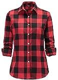 Dioufond® Classics Damen Slim Kariert Langarm Bluse Freizeit Hemd Longshirt Baumwolle Button-down Tunika(Tag M/EU XS, Rot)