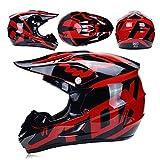 LIUJIE Casco da Motocross con Regali Occhiali da Maschera con Maschere Casco Integrale Fox Moto Racing per Uomo e Donna,D,M