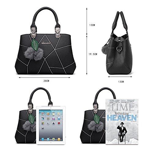 Barwell Damen Handtasche lässig Umhängetasche Taschen Frauen PU-Leder Schultertasche Rosa