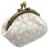 Rolin Roly Portefeuille Femme Fille Pochette Sac Toile Mini Pochette Porte Monnaie Coin Purse Wallet Jewelry Pouch 12 x 9 x 8 cm (White)