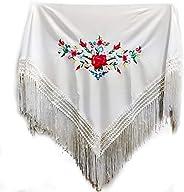 MUNDDY - Manton Bordado en Flores Para niña. Mantones Flamenco Sevillana.Mantón para fiesta de Color Rojo Negr