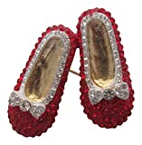 Brooch Boutique Gold Plated Bright Red Crystal Pair of Shoes Brooch Crimson Slippers