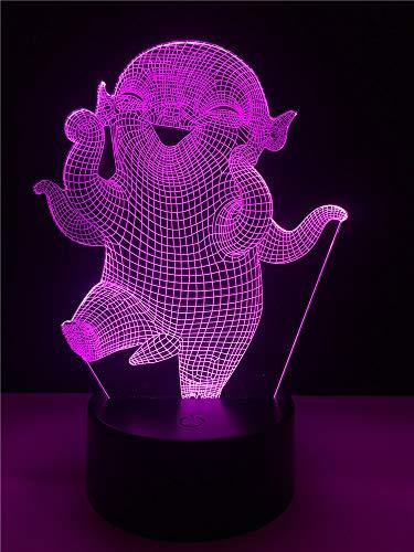 Kawaii Cartoon Wuba 3D LED Lampe Kleine Dämon König Weißer Rettich Form Abbildung 7 Farben Ändern Karotte Nachtlicht Kindspielzeug -