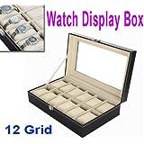 12 Zophor rejilla reloj de cuero caja de joyería vitrina expositora de titular organizador del almacenaje