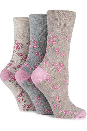 Gentle Grip Ladies 3 Pair Vintage Rose Cotton Socks