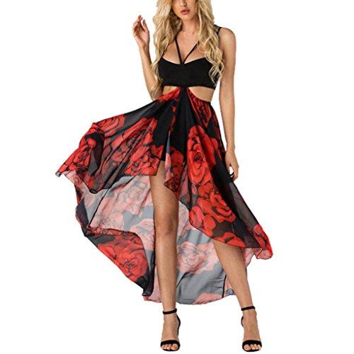 Plissiert Halfter Chiffon-kleid (Xinxinyu Damen Kleid, Lässig { Elastische Taille Sommerkleid } { Halfter Sundress} Lady { Chiffion Strand Kleid } (rot, L))