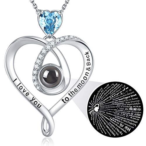 GinoMay Unisex Damen - 925 Sterlingsilber Sterling-Silber 925 Herzschliff Blue Aquamarin