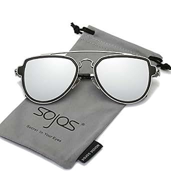 SojoS Vogue Retrò Doppio Metalloponte Aviatore Specchio Occhiali da Sole Unisex per Uomo Donna SJ1051 con Argento Telaio/Argento Specchio Lente