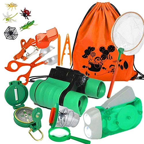 YiRAN Abenteuer Outdoor Explorer Kit für Kinder Fun Toys Lernspielzeug Kinder Geburtstagsgeschenk Kinder Fernglas Set für Camping Wandern Pretend Play 17 Pieces
