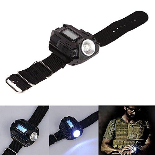 Preisvergleich Produktbild 1x Reefeel® 3W Wiederaufladbare Armbanduhr LED Taschenlampe Wasserdichte Outdoor Taschenlampe (200lm Handgelenk Lampe)