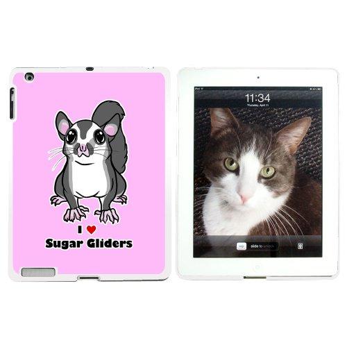 I love Herz Sugar Glider–Nagetier Tier Animal Cute Pink–Snap on Hard Schutzhülle für Apple iPad 234–Weiß (Ipad Glider)