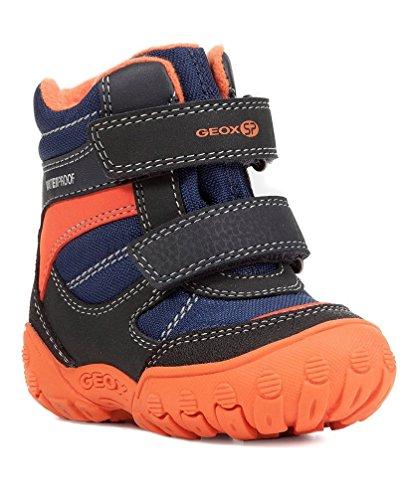 Geox B840SA Gulp Kleinkind Stiefel, Jungen Lauflern Stiefel, Warmes Fleece Futter, Wasserfest, Atmungsaktiv Blau (Navy/Orange), EU 26